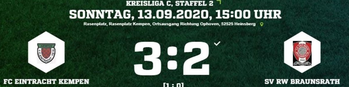 Eintracht I startet gegen RW Braunsrath mit einem 3:2 Sieg in die Saison
