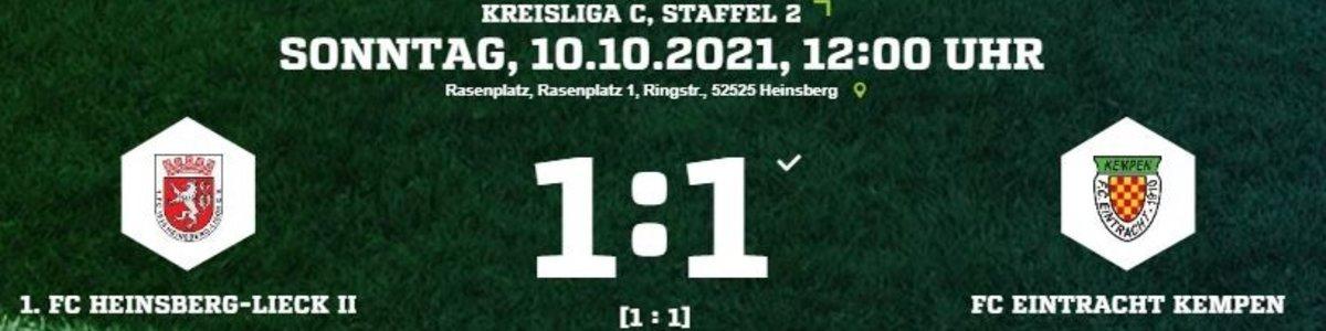 Eintracht I 1:1 im Topspiel beim 1.FC Heinsberg/Lieck