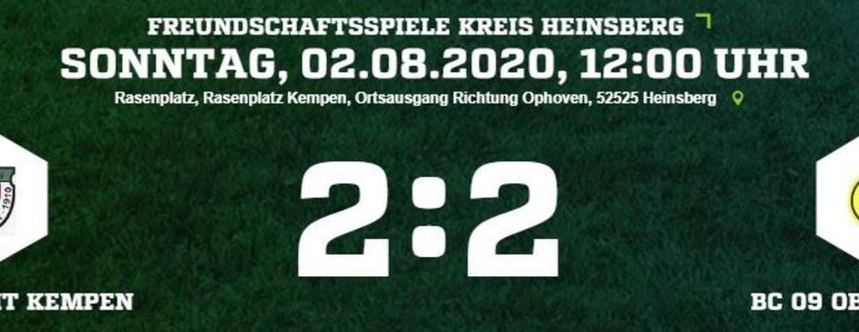 1. Testspiel endet 2:2 gegen Oberbruch II